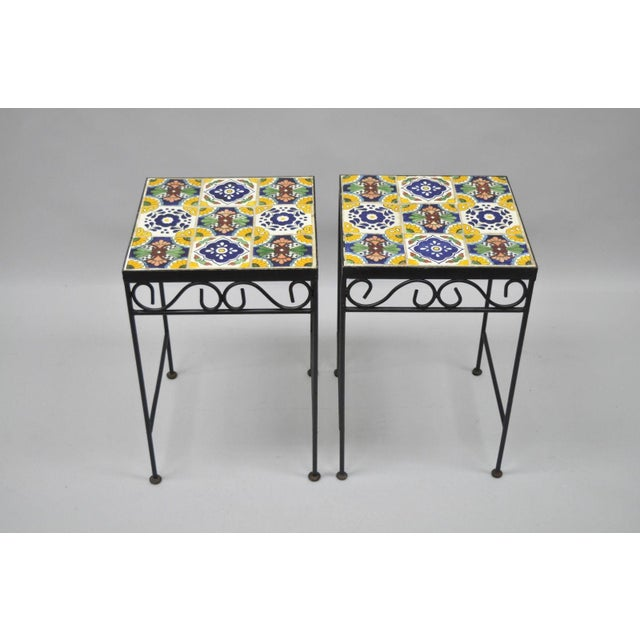 California Style 9 Tile Yellow Blue Green Wrought Iron Side Tables - a Pair - Image 4 of 11
