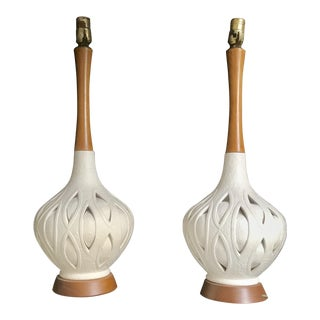 1950s Vintage Mid-Century Off-White Petal Cut-Out Ceramic and Cherry Wood Table Lamps - a Pair