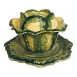 Image of Vintage Holland Mold Cabbage Tureen With Plate For Sale