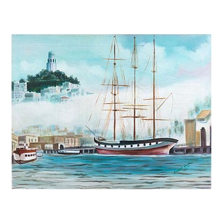 'Three Master in San Francisco Bay' by Grace Hayne, 1972, Telegraph Hill, Coit Tower For Sale