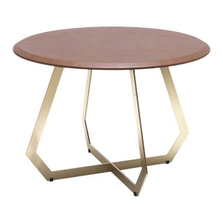The Fetish Table W/ Brown Leather - Brass / Large For Sale