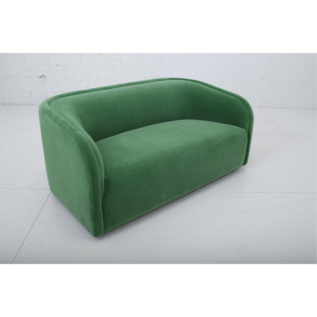 Postmodern Post Modern Barrel Back Settee in Green Mohair For Sale - Image 3 of 9