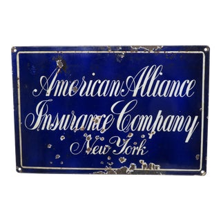 Antique Porcelain on Steel Insurance Advertising Sign For Sale