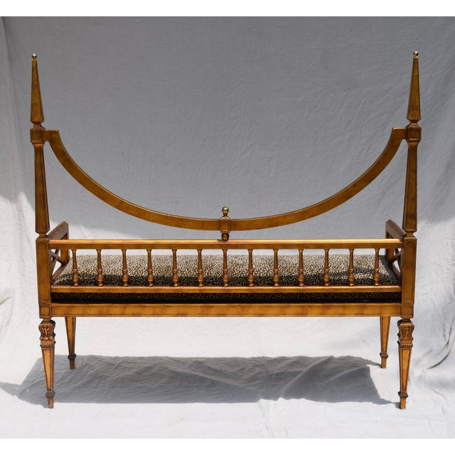 Brass Vintage Mid Century Gold Leaf Leopard Upholstery Hollywood Regency Window Bench For Sale - Image 7 of 11