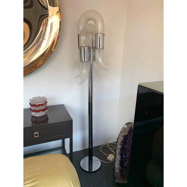 Hollywood Regency Floor Lamp Metal Chrome Murano Glass by Aldo Nason for Mazzega, Italy, 1970s For Sale - Image 3 of 13