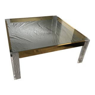 Hollywood Regency Lucite & Brass Coffee Cocktail Table For Sale