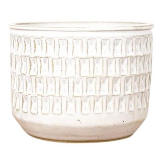 Christian Boehr Ceramic Stoneware Planter — Small Weave Pattern — White Glaze — P25 For Sale