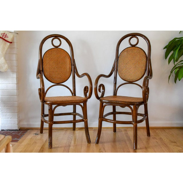 1970s Vintage Thonet Bentwood Cane Chairs- A Pair For Sale - Image 11 of 11