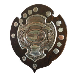 Antique English Mariner Angling Fishing Club Trophy Award 1923 Silverplate For Sale