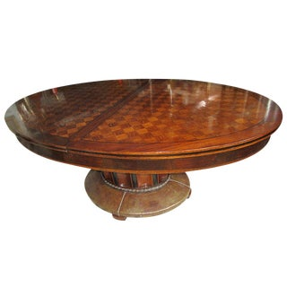 Oval Parquetry Dining Table With Hammered Copper Base by De Coene Freres For Sale