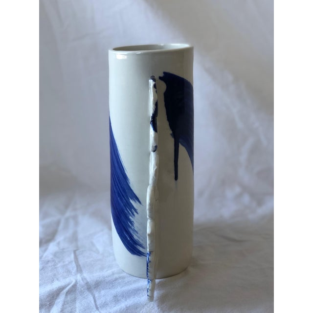 2010s Contemporary Ceramic Squiggle Handle Vessel With Cobalt Calligraphy For Sale - Image 5 of 6