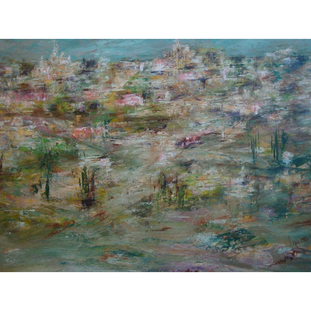 Oil painting of an abstract cityscape in varied tones of blues and pinks with yellow, white, green, and brown. Signed...