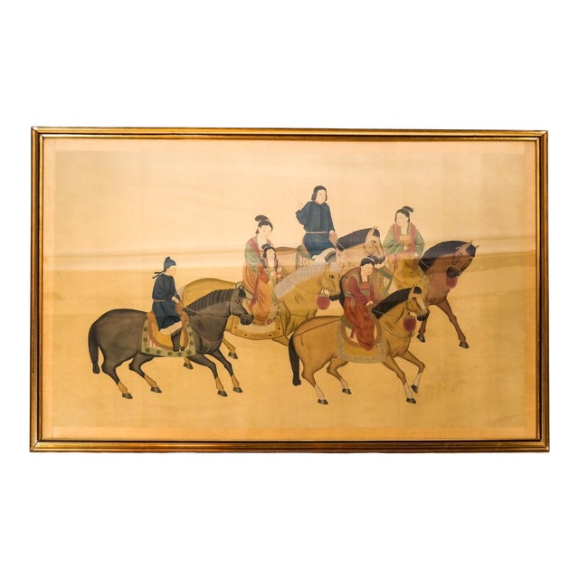 Large Chinese Painting on Silk, Women on Horseback For Sale