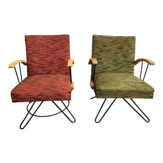 Vintage Original 1950s Upholstered Swivel Lounge Chairs - a Pair For Sale