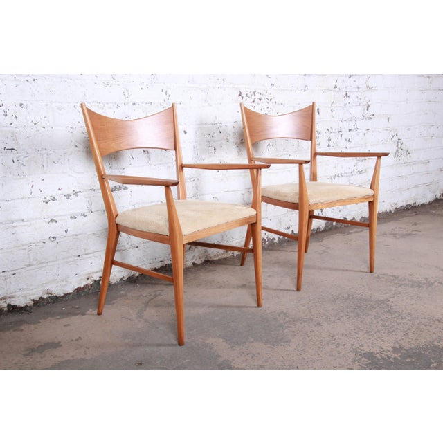 Paul McCobb for Calvin Mid-Century Modern Sculpted Walnut Bow Tie Armchairs - a Pair For Sale - Image 9 of 9