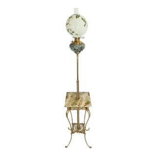 Antique Brass & Marble Piano Lamp by Bradley Hubbard With Hand Painted Globe Shade For Sale