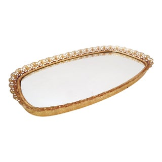 Mid Century Small Filigree Gold Tone Mirror Vanity Tray For Sale