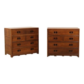 Lovely Pair of Restored Vintage Walnut Chests by Baker For Sale
