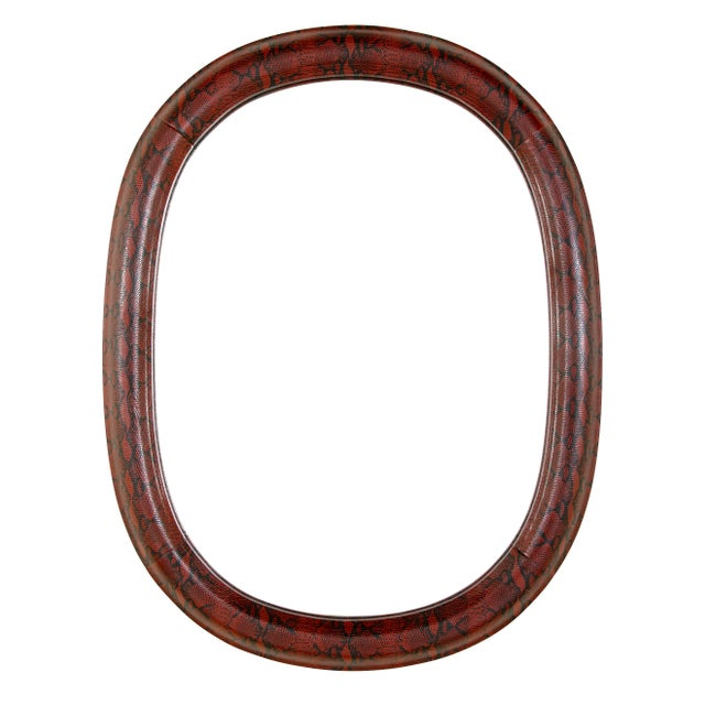Mid-Century Modern Burgundy Leather Mirror With Embossed Print For Sale - Image 10 of 11