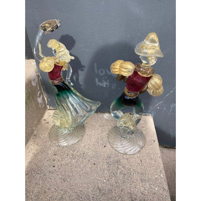 Transitional Vintage Murano Glass Figurines - a Pair For Sale - Image 3 of 12