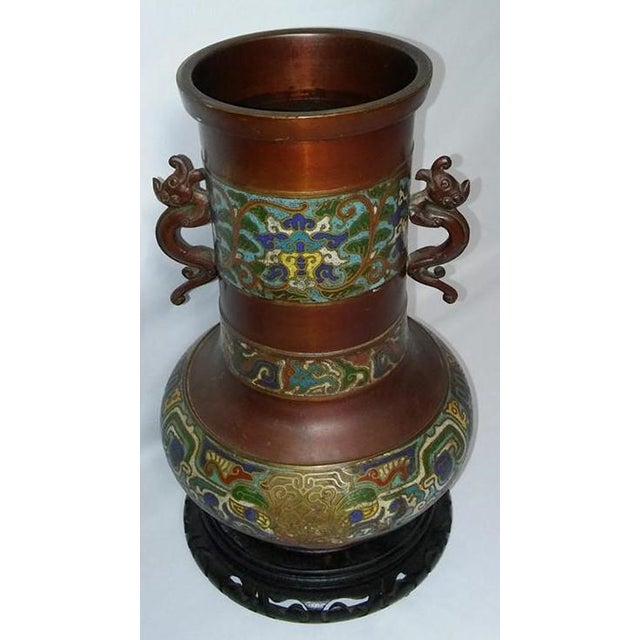 Asian Champleve Enamel Vase With Dolphin Handles For Sale - Image 3 of 6