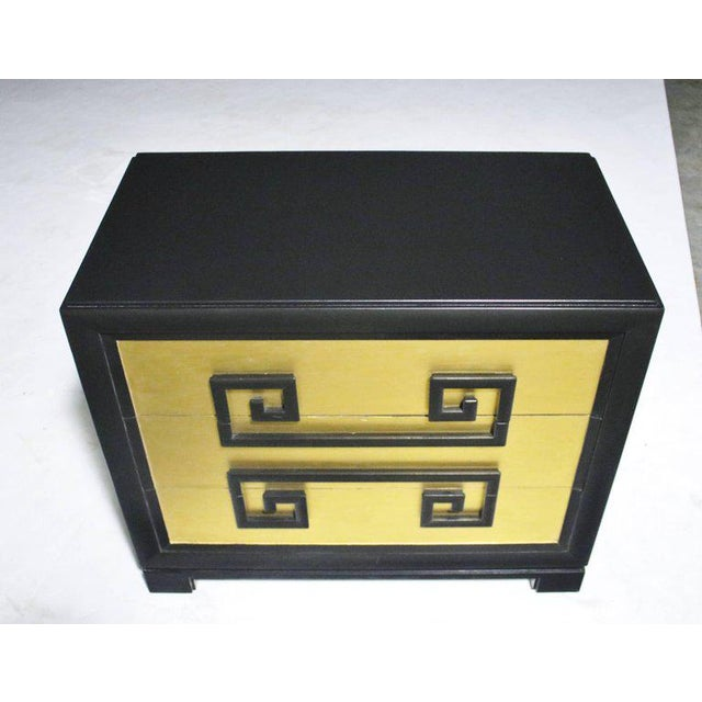 1940s authentic Greek key chest of drawers by Kittinger (labelled) newly refinished in satin black lacquer and gold leaf...