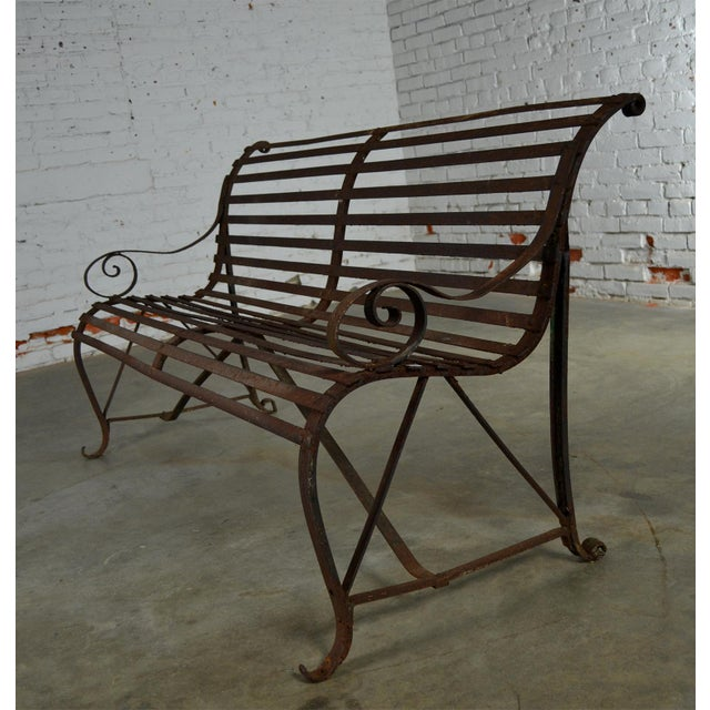 Antique 19th Century Forged Strap Iron Garden Bench For Sale - Image 6 of 10