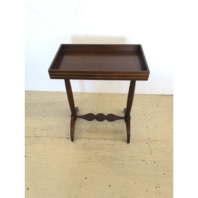 1970s Mahogany Rectangular Small End Table With Banded Inlay For Sale - Image 5 of 11