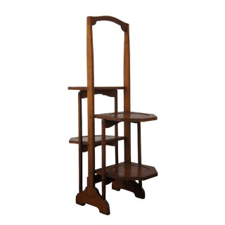 Victorian Edwardian Walnut Tiered Folding Stand For Sale