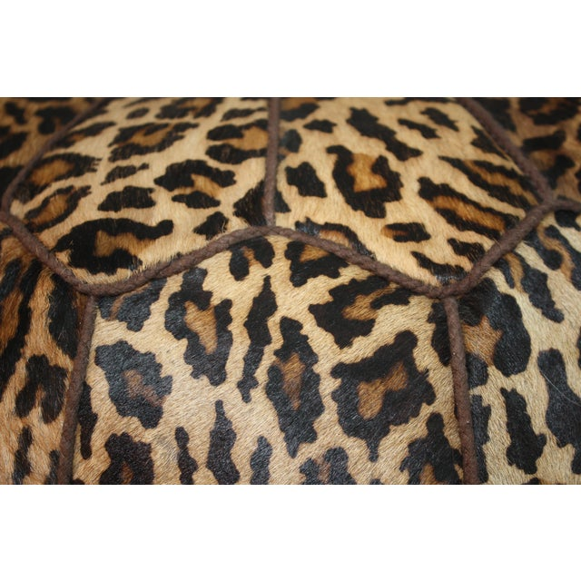 Jamie Young Leopard Print Cowhide Ottoman - Image 6 of 6