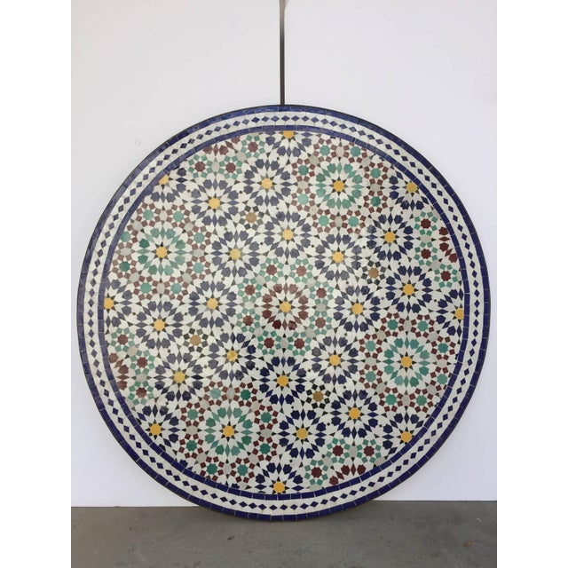 Moroccan Round Mosaic Outdoor Tile Table in Fez Moorish Design For Sale - Image 9 of 10