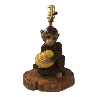 Ceramic Monkey Table Lamp For Sale