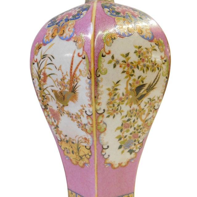 Pink Hexagonal Multi-Color Porcelain Vase - Image 3 of 6