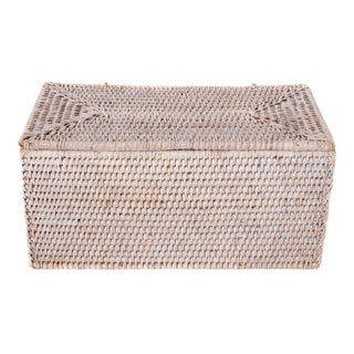 Artifacts Rattan Double Tissue Box Holder With Lid For Sale