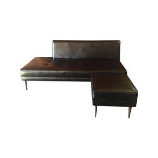 Mid Century Style Custom Day Bed Sofa With Ottoman For Sale
