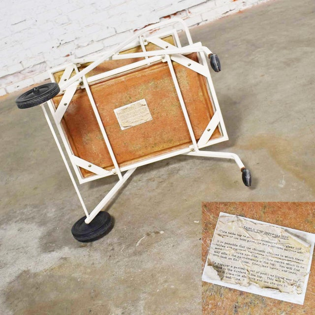 Mid Century Modern Samsonite Tiered Patio Drink Cart of Fiberglass and Enameled Steel Tube in White For Sale - Image 9 of 13