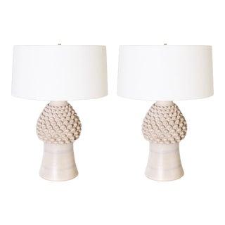Pair of Pineapple Acanthus Ceramic Lamps, C. 1960