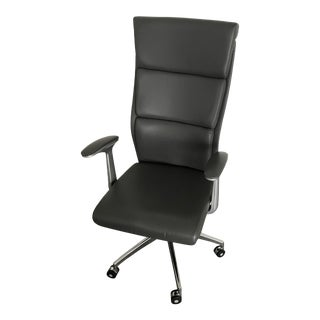 Dark Gray Leather Desk Chair For Sale