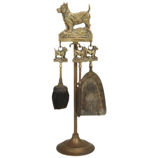 Antique French Fireplace Tool Set With a Dog Motif - 4 pieces