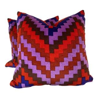 "Vintage Schumacher ""Pyramid"" Hand Printed Velvet 22"" Pillows-A Pair For Sale"
