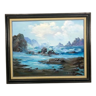 Vintage Mid-Century Oil Painting California Seascape, Signed L. Boehmer For Sale