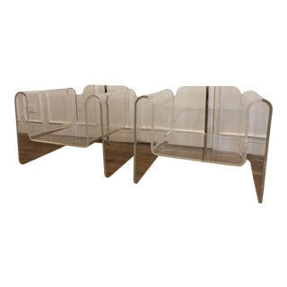 Mid-Century Brass Detail Lucite Ribbon Chairs - A Pair For Sale
