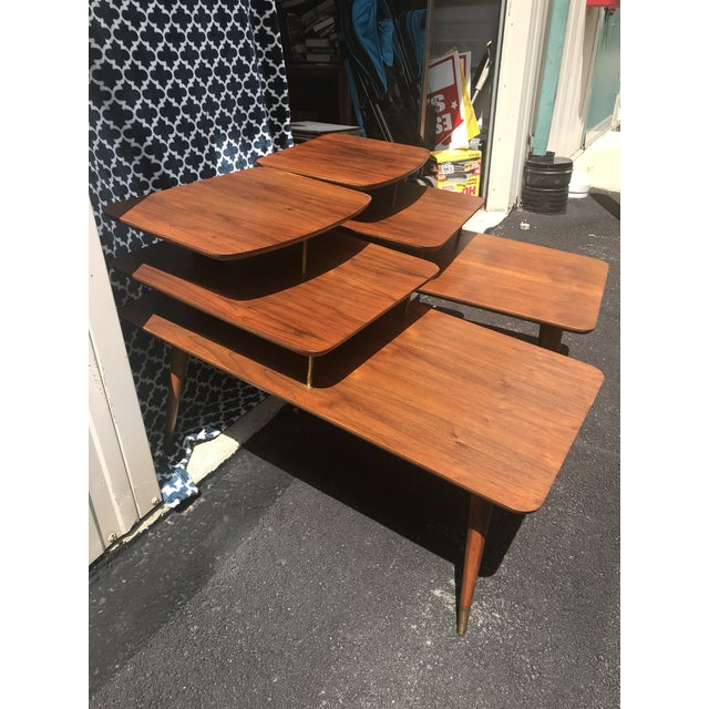 Mid-Century Modern 3 Tier Wood/Brass Side Tables - a Pair For Sale - Image 10 of 10