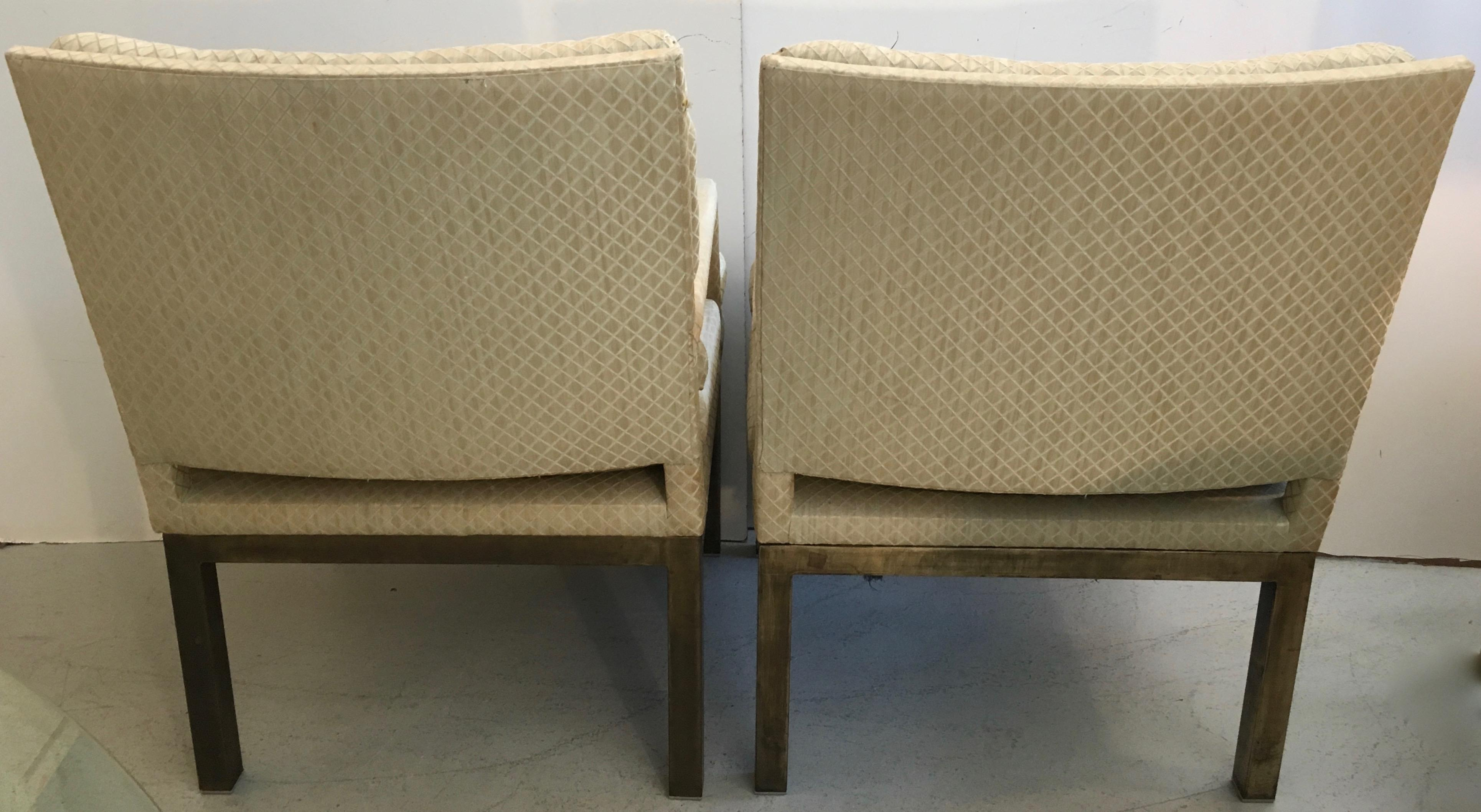 John Stuart Arm Chairs With Bronze Base For Sale In Miami   Image 6 Of 8