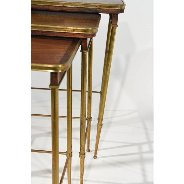 Brass & Wood Nesting Tables - Set of 3 For Sale In Los Angeles - Image 6 of 7