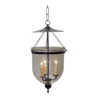 "Electrified 10"" Clear Bell Jar Lantern, Circa:1820, England For Sale"