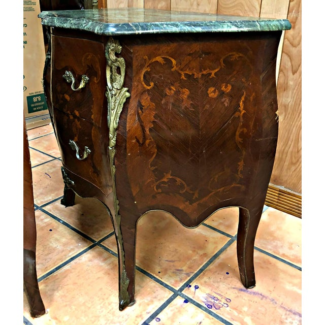 Brass French Marquetry Inlay and Marble Top Commodes - a Pair For Sale - Image 7 of 13