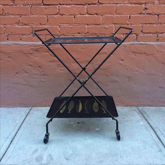 Fred Press Folding Bar Cart with Fish - Image 5 of 8