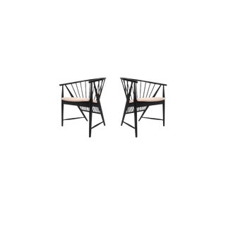 "Rare Pair of Sonna Rosen ""Sunfeather"" Lounge Chairs in Black Lacquer For Sale"