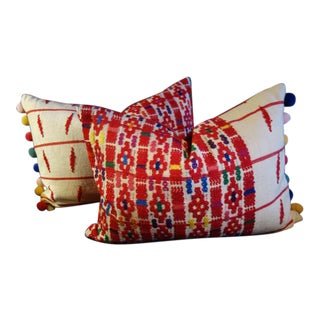 Folk Art Guatemalan Embroidered Pillows - a Pair For Sale